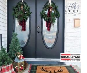 christmas wreaths on entry doors