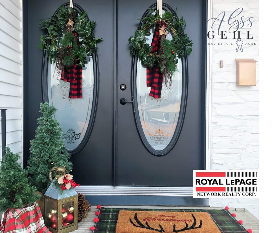 christmas wreaths on entry doors